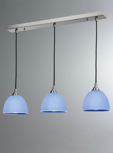 Franklite FL2290/3/943 Satin Nickel & Blue Pendant Light